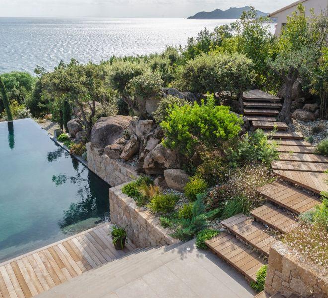 plan d'aménagement paysager avec piscine