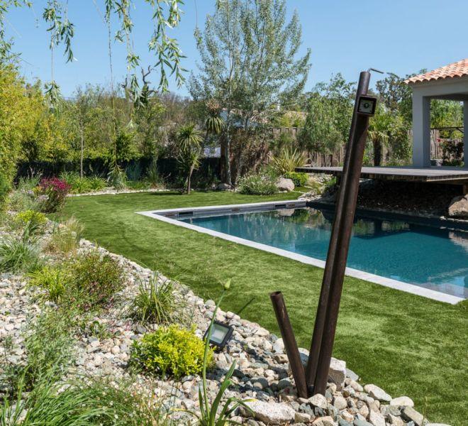 plan d'aménagement jardins avec piscines