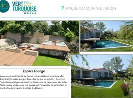 planche d'ambiance jardin avec piscine