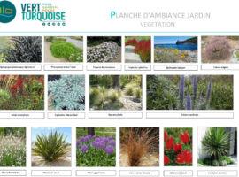planche d'ambiance jardin et végétation aménagement paysager